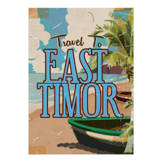 East Timor vintage travel poster art.