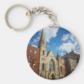 East Village Church and Buildings Basic Round Button Key Ring