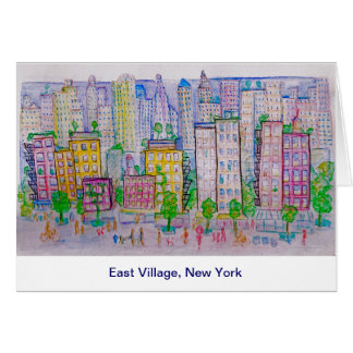 East Village, New York, Skyline, Street scene Card