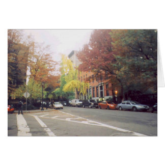 'East Village Square in Autumn' Blank Note Card