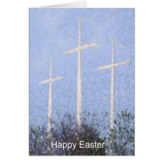 easter 3 crosses greeting card