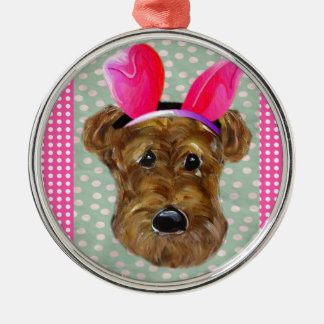 EASTER AIREDALE Silver-Colored ROUND DECORATION
