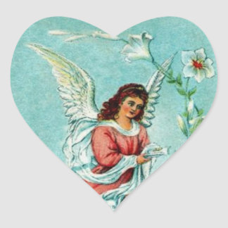 Easter Angel With Flowers Heart Sticker