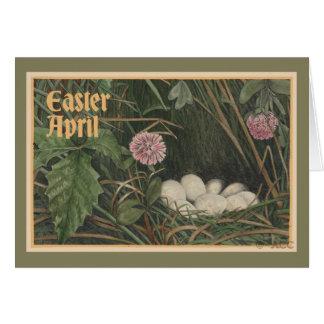 Easter April eggs, nest, grass, flowers Card