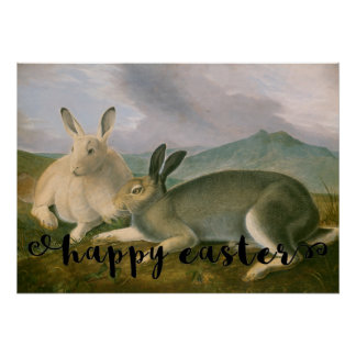 Easter Arctic Hares Couple Landscape Watercolor Poster
