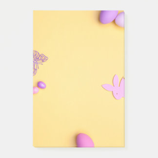 Easter Background. Copy Space. Top View Post-it Notes