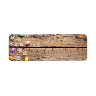 Easter Background with Blossom and Eggs on Wood Return Address Label
