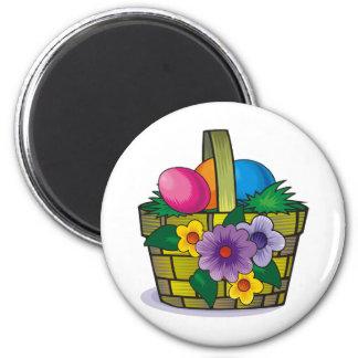 Easter Basket 6 Cm Round Magnet