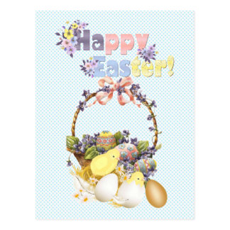 Easter Basket and Chickens Postcard