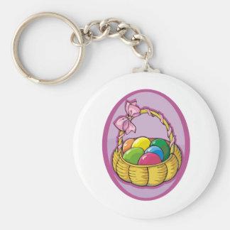 Easter Basket Basic Round Button Key Ring