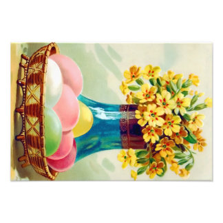 Easter Basket Colored Eggs Vase Daisies Photo