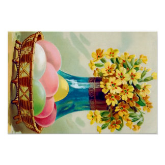 Easter Basket Colored Eggs Vase Daisies Poster