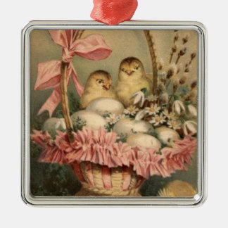 Easter Basket Egg Chick Pink Bow Forget Me Not Silver-Colored Square Decoration