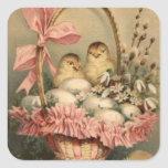Easter Basket Egg Chick Pink Bow Forget Me Not Square Stickers