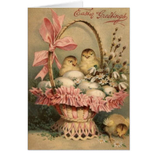 Easter Basket Egg Chick Pink Bow Greeting Card