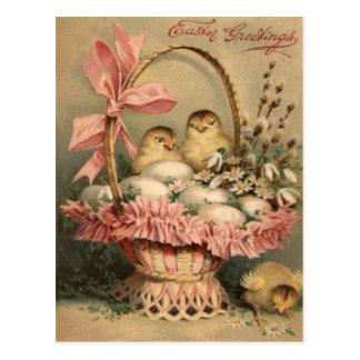 Easter Basket Egg Chick Pink Bow Postcard