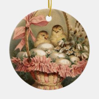 Easter Basket Egg Chick Pink Bow Round Ceramic Decoration