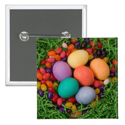 Easter Basket - Spring Colored Eggs Jelly Beans Pin
