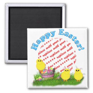 Easter Basket with Baby Chicks Photo Frame Square Magnet