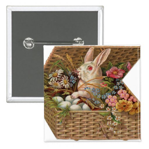 Easter basket with bunny, flowers and eggs pinback buttons