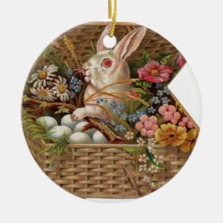 Easter basket with bunny, flowers and eggs ornament