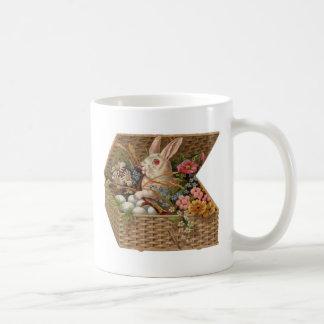 Easter basket with bunny, flowers and eggs mug