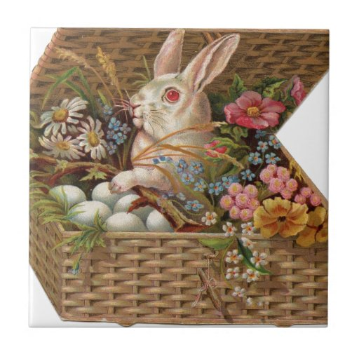 Easter basket with bunny, flowers and eggs tiles
