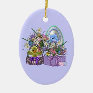 Easter Baskets Ceramic Oval Decoration
