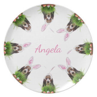 Easter Basset Hound personalized dinner plate