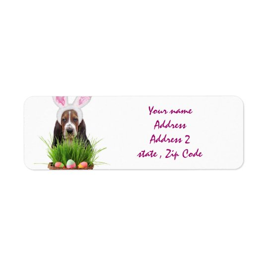Easter Basset Hound Return Address Label