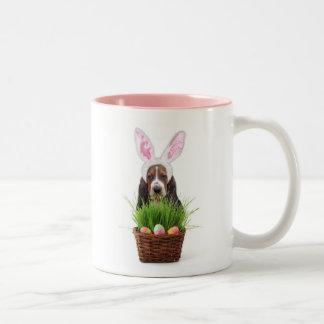Easter Basset Hound two tone coffee mug