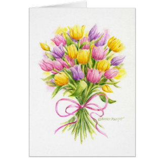Easter Beautiful Tulip Bouquet Greeting Card