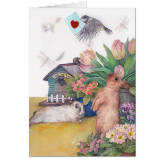 EASTER BIRDIE BUNNY FLORAL BORDER SPRING GREETING CARD