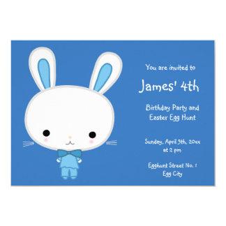 Easter Birthday Invitations Cute Blue Bunny