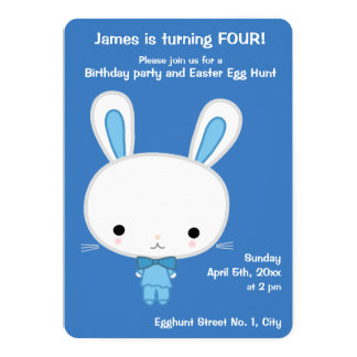 Easter Birthday Invitations With Cute Blue Bunny