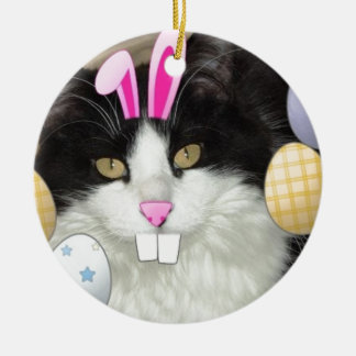 Easter Black and White Kitty Cat Round Ceramic Decoration