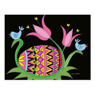 Easter Blessing Ukrainian Folk Art Postcard