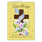 Easter Blessings - Cross And Flowers - Easter Card