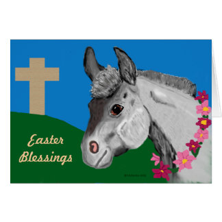 Easter Blessings Donkey Greeting Card