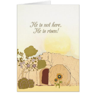 Easter Blessings, empty tomb, Luke 24:6 Card