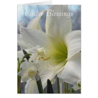Easter Blessings White Floral Card