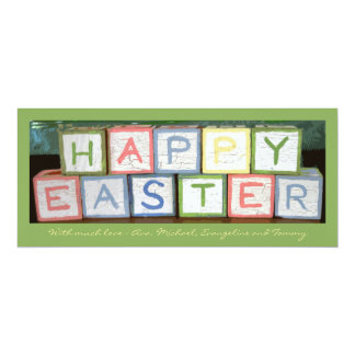 Easter Blocks Photo Holiday Card 10 Cm X 24 Cm Invitation Card