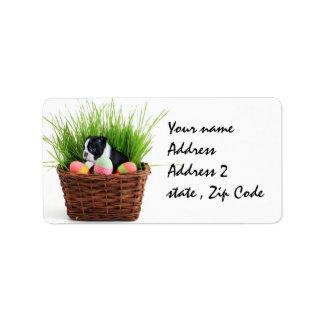 Easter Boston Terrier  dog Address Label