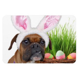 Easter boxer dog rectangular photo magnet