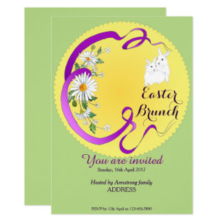 Easter Brunch Bunny and Flower Invitation