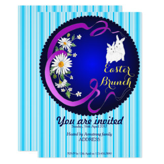 Easter Brunch Bunny and Flower Invitation Blue