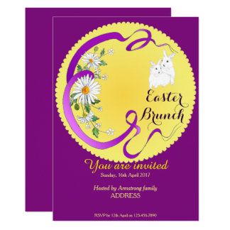 Easter Brunch Bunny and Flower Invitation Purple