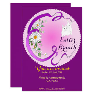 Easter Brunch Bunny and Flower Invitation Purple-P