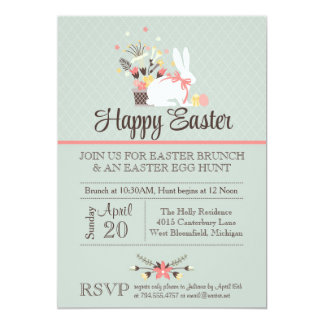 """Easter Brunch Invitation, Easter Egg Hunt Invite 5"""" X 7"""" Invitation Card"""