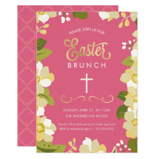 Easter Brunch Invitation w/ Flowers & Gold Accents